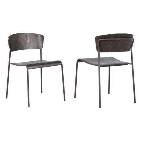 Armen Nick Walnut and Metal Open Back Dining Accent Chairs (Set of 2)