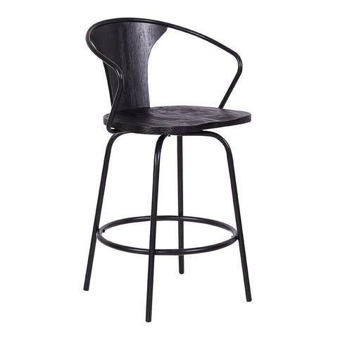 Armen Payton Industrial Swivel Black Wood and Metal Stool
