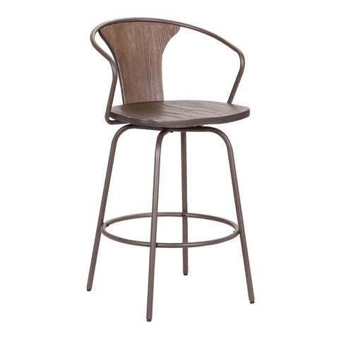 Armen Payton Industrial Swivel Walnut Wood and Metal Stool