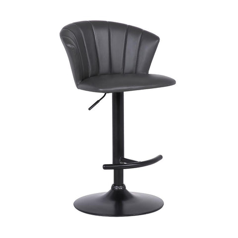 Armen Raquel Adjustable Modern Grey Faux Leather Bar Stool