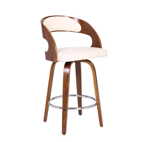 Armen Shelly Contemporary Swivel Stool in Walnut Wood Finish and Cream Faux Leather