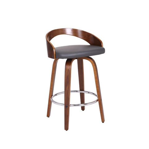 Armen Sonia Stool in Walnut Wood Finish with Gray Faux Leather