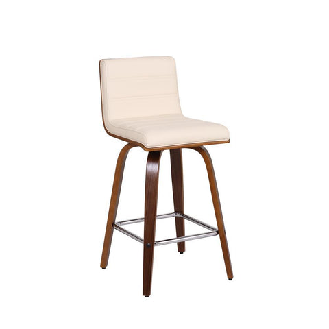 Armen Vienna Stool in Walnut Wood Finish with Cream Faux Leather
