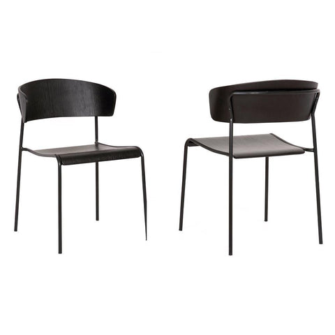 Armen Zeph Black Wood and Metal Open Back Dining Chairs (Set of 2)