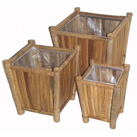 Bamboo 3 Piece Square Planter Set