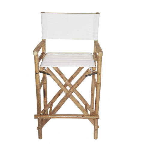 Bamboo Folding Canvas Bar Stool