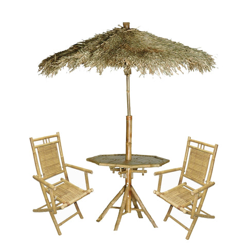 Bamboo Palapa 4Pc Patio Set