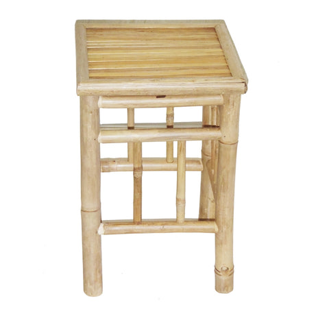Bamboo Pedestal Stool Set Of 2