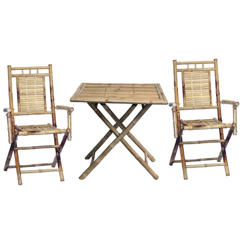 Bamboo Square 3 Piece Bistro Set