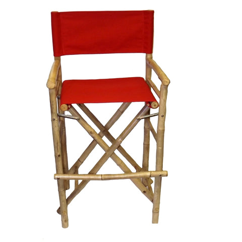 Bamboo54 High Bamboo Director Chair Pair In Red