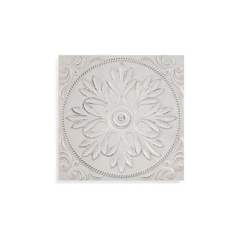 Basset Mirror 3 Dimensional Gothic Rosette Wall Hanging in White Wash