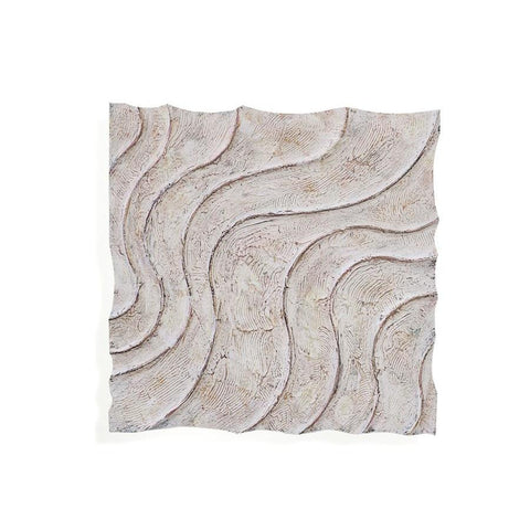 Basset Mirror 3 Dimensional Wave Motion Wall Plaque in Textured White