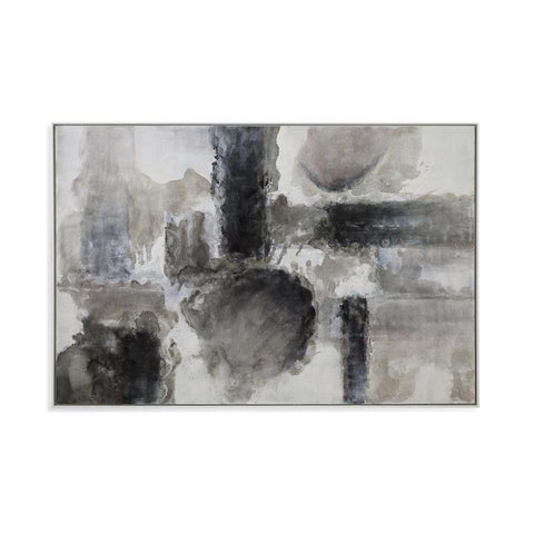 Basset Mirror Abstract Grey Monument in Ashen Greys/Black