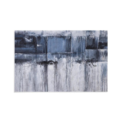 Basset Mirror Abstract Grey Skies in Ashen Greys/Black