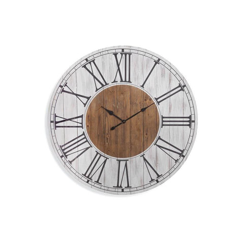 Basset Mirror Ailey Wall Clock in White Wash/Brown