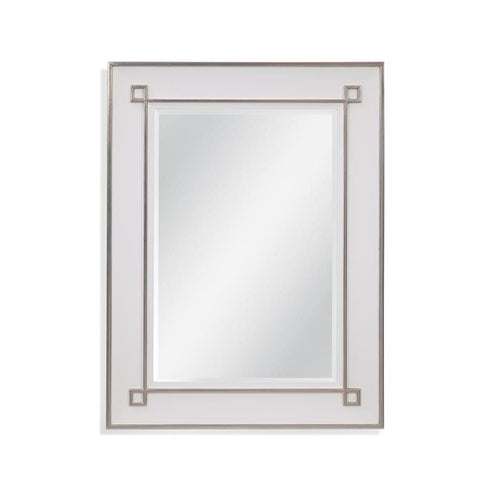 Basset Mirror Alston Wall Mirror in White Lacquer & Silver Leaf