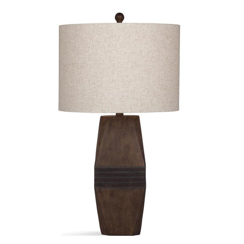 Basset Mirror Bricolage Finley Table Lamp in Dark Brown Cement