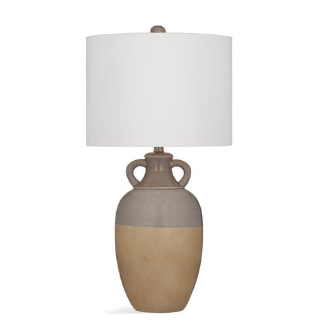 Basset Mirror Ceramic Abbott Table Lamp in Grey/Sand