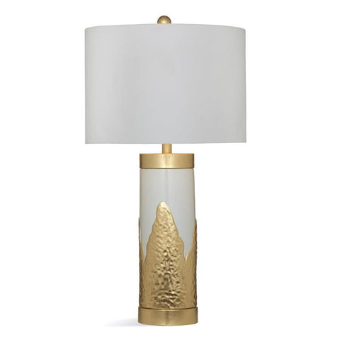 Basset Mirror Ceramic Madison Table Lamp in White/Gold Leaf