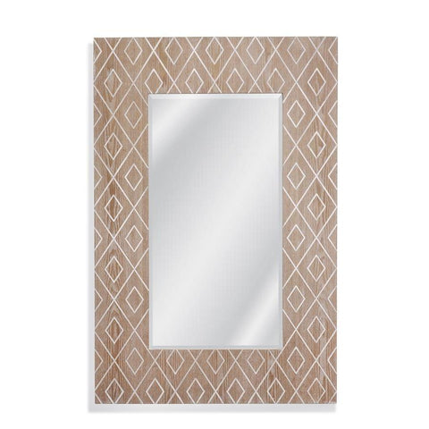 Basset Mirror Ines Wall Mirror in Natural Wood/White