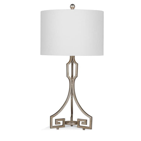 Basset Mirror Metal Belmeade Table Lamp in Silver Leaf