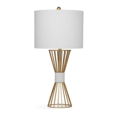 Basset Mirror Metal Berkley Table Lamp in Gold Leaf/White Marble