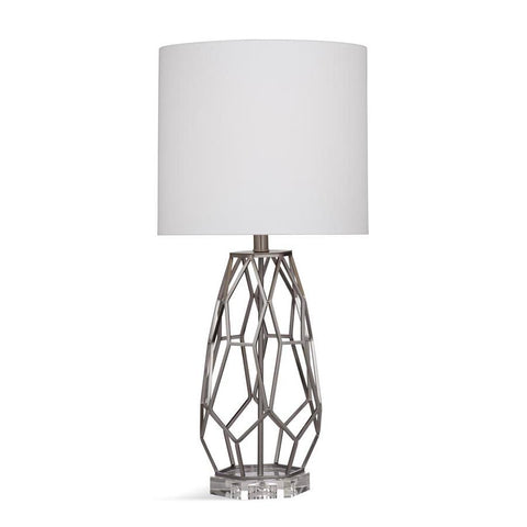 Basset Mirror Metal Canova Table Lamp in Brushed Steel