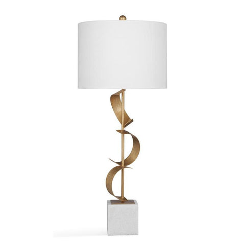 Basset Mirror Metal Gwyn Table Lamp in Gold Leaf/White Marble