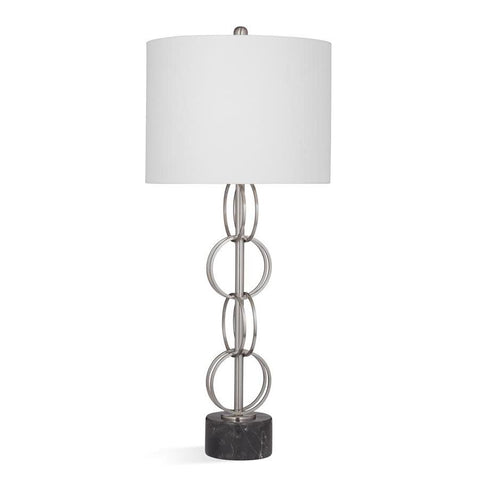 Basset Mirror Metal Venezia Table Lamp in Black Marble/Brushed Steel