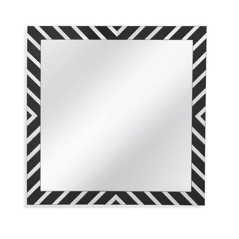 Basset Mirror Nala Wall Mirror in Black Lacquer & Chrome