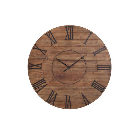 Basset Mirror Ramato Wall Clock in Natural Wood