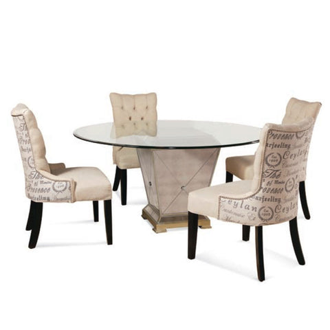 Bassett 8311 Borghese Mirrored 5 Piece Round Dining Room Set