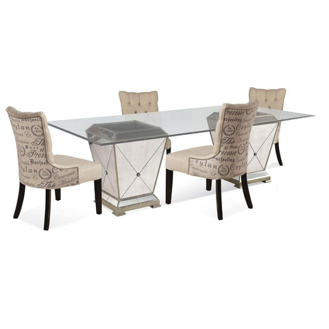 Bassett Borghese Double Pedestal 5 Piece Dining Set w/ Natural Linen Parson Chairs