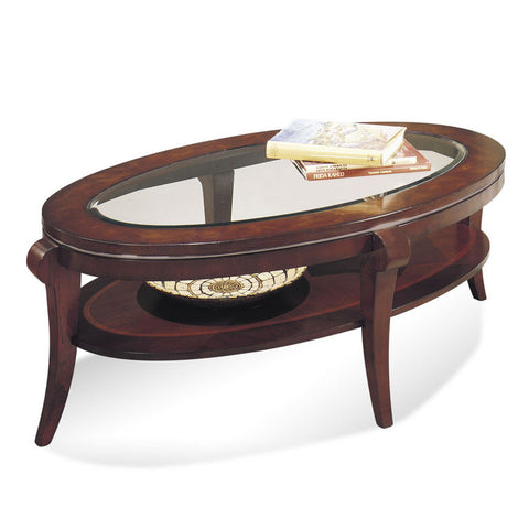 Bassett 8436-140 Ashland Heights Oval Cocktail Table w/ Glass Inset