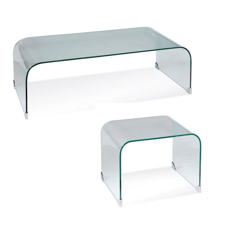Bassett Arquatto 2 Piece Rectangular Glass Coffee Table Set