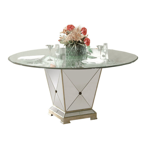Bassett Borghese 60 Inch Round Pedetal Glass Top Dining Table