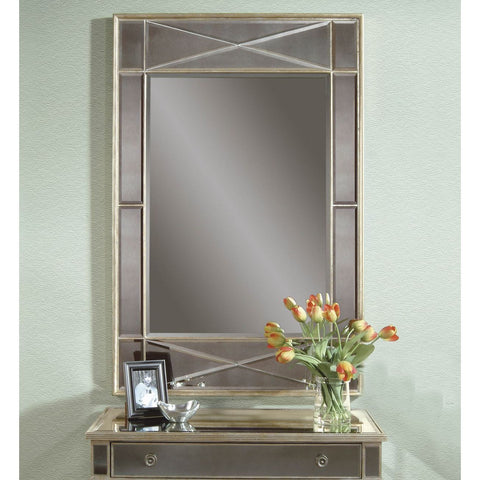 Bassett Borghese Campagna Rectangular Wall Mirror in Silver Leaf