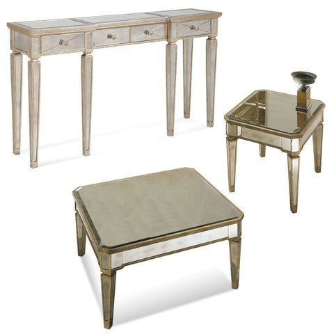 Bassett Borghese Mirrored Square 3 Piece Cocktail Table Set