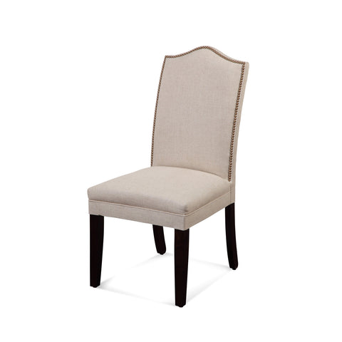 Bassett Camelback Nailhead Parsons Chair in Natural Linen