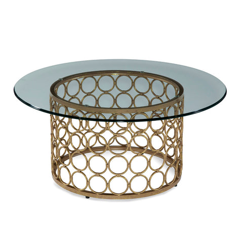 Bassett Carnaby Round Cocktail Table in Lux Gold & Goldleaf