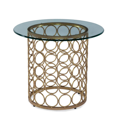 Bassett Carnaby Round End Table in Lux Gold & Goldleaf