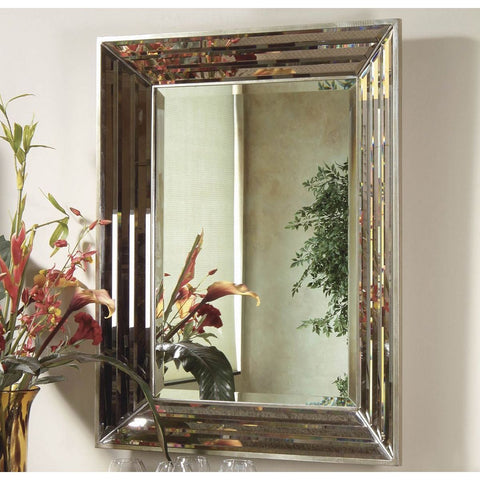 Bassett Contempo Jewels Rectangular Wall Mirror in Silver Leaf