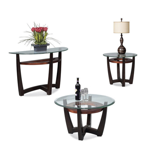 Bassett Elation Round 3 Piece Glass Top Cocktail Table Set