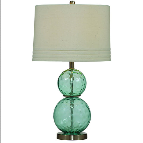 Bassett L2522T Barika Table Lamp in Blue Dimple Glass