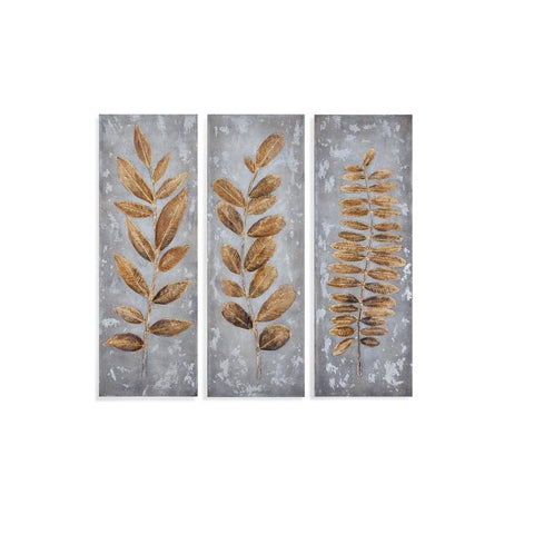 Bassett Mirror Metallic Leaves (Set of 3) Canvas Art