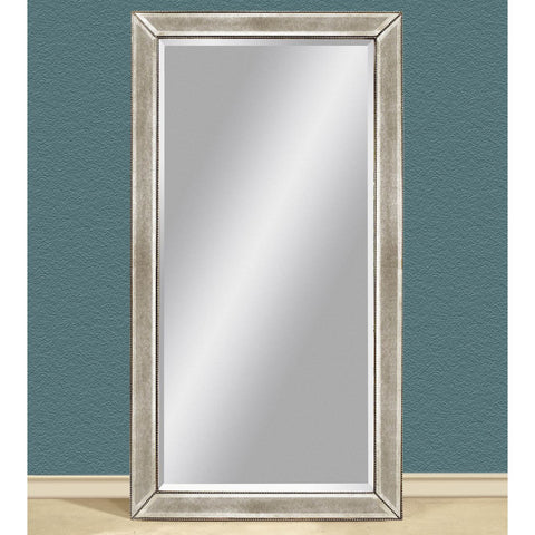 Bassett Murano Beaded Antique Leaner Mirror in Silver Leaf