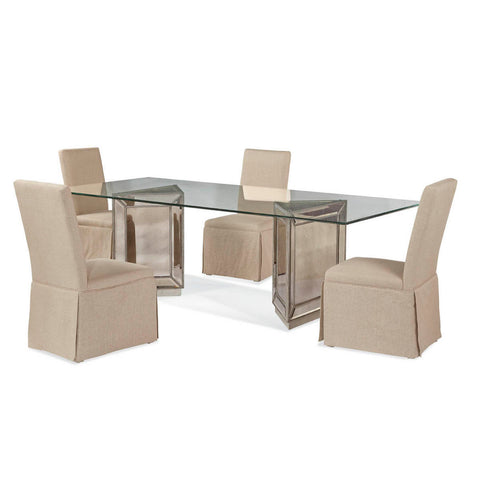 Bassett Murano Rectangular 5 Piece Dining Set w/ Edison Skirted Parsons Chairs