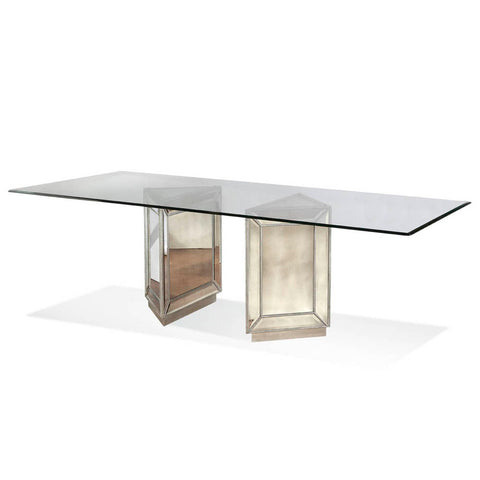 Bassett Murano Rectangular Dining Table in Silver Leaf & Mirror