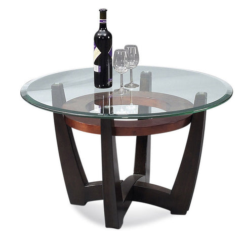 Bassett T1078-120/033 Elation Round Glass Top Cocktail Table