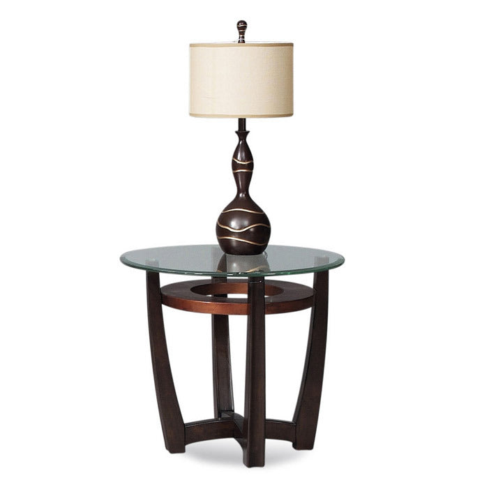 Bassett T1078 220076 Elation Round Glass Top End Table Beyond Stores